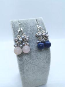 Rose Quartz & Blue Lace Agate Earrings