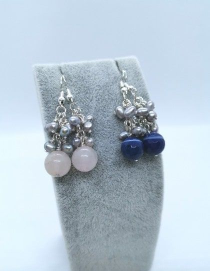Rose Quartz & Blue Lace Agate Earrings