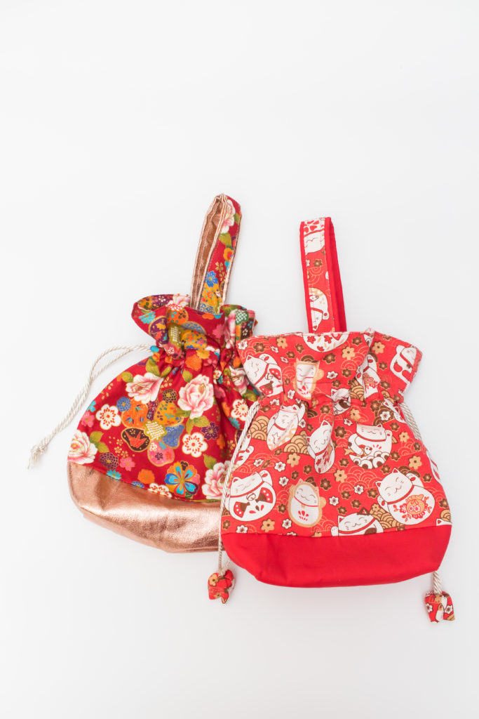 Drawstring Bag – Fortune Cat / Prosperity Floral (Seasonal Series)
