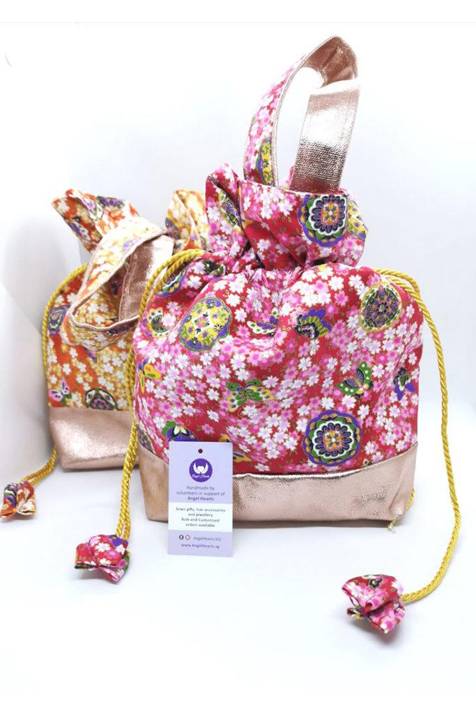 Drawstring Bag – Jap Floral Pink / Orange (Seasonal Series)